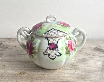 Vintage Sugar Bowl Japan Hand Painted Cottage Chic Pink Green