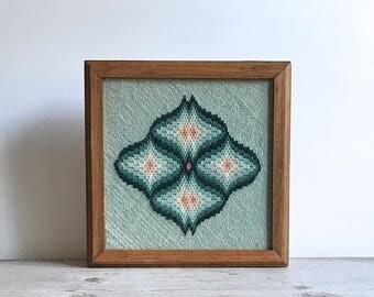 1980s Wood Box Geometric Mod Needlepoint Aqua Seafoam Graphic Needlepoint Pop Art