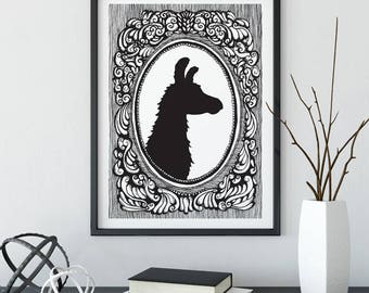 Llama, Silhouette, taxidermy, animal, illustration, cameo, wall art, top best selling, gift under 30, art print, black & white, hand drawn