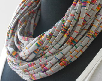Soft Cotton Infinity Scarf-Rainbow Stripes-Bright Multi-Color Fabric Necklace in Gray-Convertible Cord Jewelry