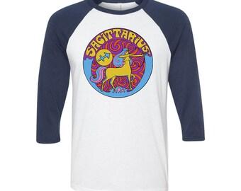 Sagittarius T Shirt... Sagittarius Birthday... Sagittarius Gift... 3/4 Length Sleeves... Unisex Style... 60s 70s Inspired
