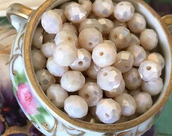 15 AB Angel Glass Beads, Wedding Beads, Faceted beads, Round Beads, victorian Beads, Cream Beads, Neo victorian, beading Supplies #B127C
