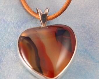 Brazilian Agate Heart  Pendant in Sterling Silver