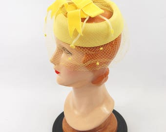 1950s - 1960s Yellow Pillbox Hat - Bright Yellow Cocktail Hat Veiled - Bow Accent - Halo Hat 50s 60s