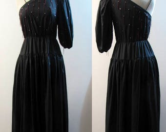 1980's Designer Lillie Rubin One Sleeve Dress with Rhinestones Size 8