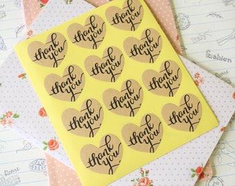 Thank You HEART Shape KRAFT sticker labels