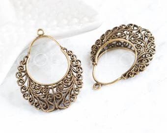 Bohemian Chandelier Connector, filigree floral Earring Link, Large double half round moon  Antique brass, dangle connectors, Boho Links 1pc