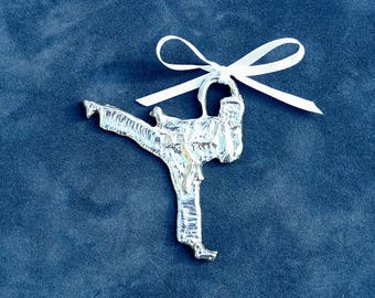 Pewter Kickboxer Ornament