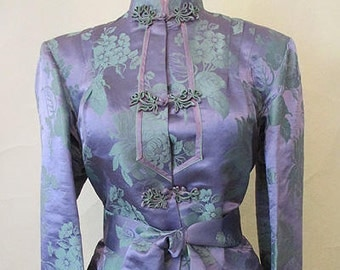 Dazzling 1940's Silk Asian Lounging Pajamas/Cocktail Jacket Old Hollywood Glamor Vintage Lingerie boudoir  Size Medium