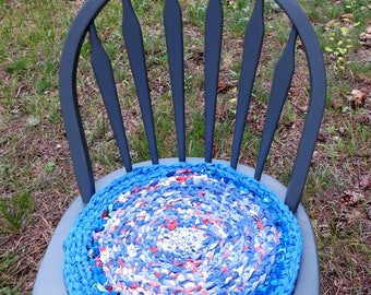 """rag rug chair pads Set of 2 round, crochet """"braided"""" chairpads, boho chic, shabby chic, at home on the porch B717"""