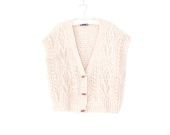 Cable Knit Sweater * Vintage Cardigan Sweater * Fishermans Sweater *  Wool Cardigan Vest