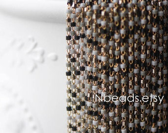 TOHO Seed Glass Bead Chain 1.8mm, Unplated Brass Beaded Tiny Chain, Multi Colors Mix  (#RB-052-4)/ 1 Meter=3.3ft