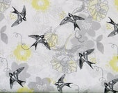 Gray and Yellow Floral with Black Birds on White 100% Cotton Quilt Fabric, Marbella by Quilter's Palette, Fat Quarter, QUP12630-GRAY, Grey