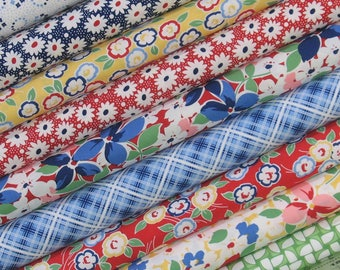 Nine 1940s Reproduction Fabrics, 100% Cotton Quilt Fabric Bundle for Sale, a Kim's Cause Collection by Maywood Studio, Fat Quarter, Yardage