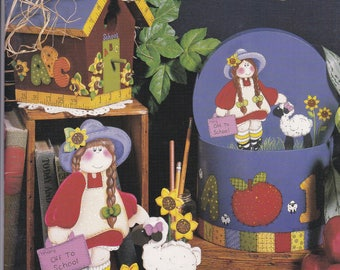 1994 Delightful Times by Mary Helen Gould Tole Painting Americana Folk Christmas Halloween School Teacher Angel Snowman Witch Dracula