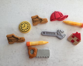 """Tool Buttons, Packaged Novelty Buttons, """"Handyman"""" Style 4138 by Buttons Galore, Shoes, Wrench, Hat, Boots & More, Shank Back and Flat"""