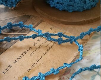 Elegant 1930s Turquoise Blue 10mm Trim Ribbon Passementerie - Roll of 10 Yards - Limited - New Old Stock
