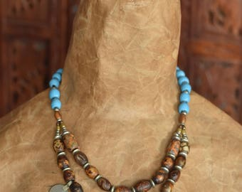 Vintage Tibetan Agate beads and Kuchi Coin Bib Necklace