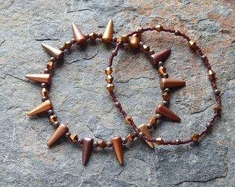 Stacking bracelets - bracelet set - coppery metallic spiked czech glass bracelets - stretch bracelet set - jewelry set - punk rock glam