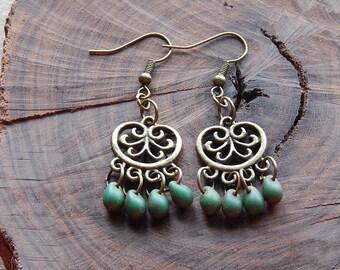 Chandelier earrings - small statement earrings - green earrings - picasso czech glass - fancy dangle earrings - little gypsy earring - boho