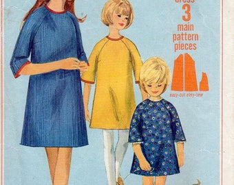 1960s Jiffy Tent Dress with Raglan Sleeves - Vintage Pattern Simplicity 6765 - Size 6