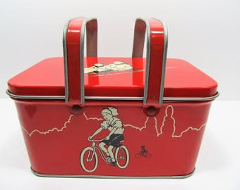 Mid Century Child Tin Lunch Box Sporting Theme Decoware 1950's Vintage Red Child Lunch Tin
