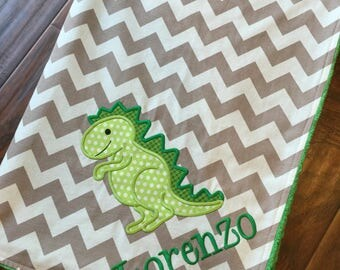 Dinosaur Baby Blanket- Personalized Baby Blanket- Minky Baby Blanket- Chevron Minky Blanket- Nursery Blanket