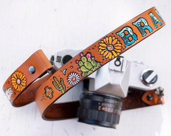 Custom Leather Camera Strap - Desert Flower - Cacti Zia Skulls Sunflowers Sun Moon - Personalized - Cactus Straps Made to Order Mesa Dreams