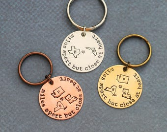 Best Friend Gift • Friendship Keychain • Girlfriend Gift Going Away Gift Moving Friend • QQQ • Graduation Gift Stamped State Gift Distance