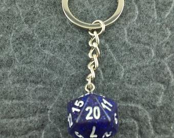 Blue Glitter D20 Keychain, D20 keychain, Dice Keychain, Dungeons n Dragons Keychain, Pathfinder, Dungeouns and Dragons Keychain