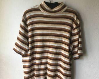 Vintage Brown Striped Top Size 1X