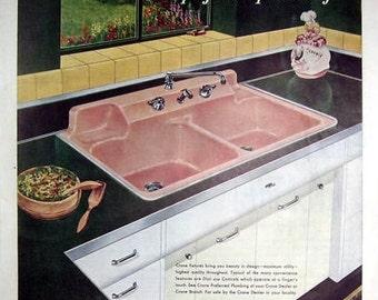 Vintage Crane Counter Top Pink Sink Magazine Page Ad, Plumbing and Heating, Kitchen Fixtures, Laundry room Fixtures, Crane