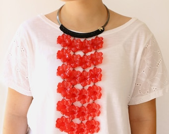 Long Red Necklace Lightweight Oversize Statement Jewelry Hippie Flowers Choker Necklace Extra Long Necklace  Red Flower , Artisan handmade