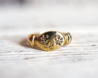 14K Gold Purslane Botanical Ring, Botanical Jewelry, Simple Ring, Stacking Rings, Flower, Promise Ring, Reclaimed, by Peg and Awl