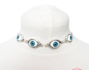 Antique Silver Evil Eye Choker Necklace, Evil Eye Necklace, Eyeball Necklace, Blue Evil Eye Necklace, Silver Evil Eye Necklace