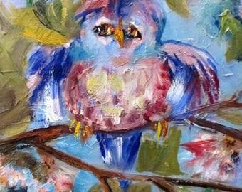 Blue Bird oil painting 10x8 Art by Delilah