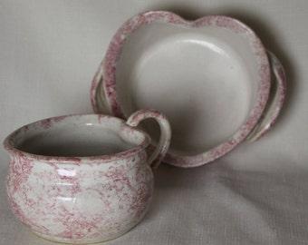 2 Spongeware Pink Heart Bowls Country Bowls Handmade Ceramic with Handles Pottery Ceramic Unique shape