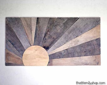 Pallet Sign Plaque, Barnwood Art Decor, Minimalist Sunset Wood Wall Mural