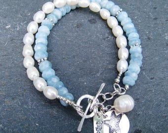 Aquamarine and Freshwater Pearl Multistrand Bracelet with Fine Silver Starfish Charm and Sterling Silver Toggle Clasp - sky blue and white