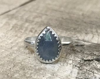Stunning Teardrop or Pear Shaped Faceted Deep Blue Sapphire Sterling Silver Engagement Ring | Blue Sapphire Ring | Faceted Gemstone Ring