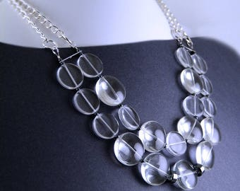 Crystal Clear Shiny Bib Necklace. Winter gift.
