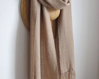 Oversized Beige Shawl Hand Woven Alpaca Wrap, Large Soft Light Beige Brown Womens Formal Spring Summer Fall Autumn Winter Wedding Cover Up