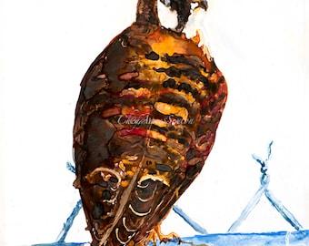 Bird watercolor American Kestrel Watercolor Art on Yupo - Sweet little wild Falcon ORIGINAL WaterColour on Yupo paper  8x11