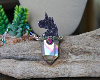 Crystal Unicorn Necklace, Angel Aura Quartz Jewelry, Rainbow Crystal Jewelry, Festival Fashion, Mystical, Hippie Jewelry, Amethyst Necklace