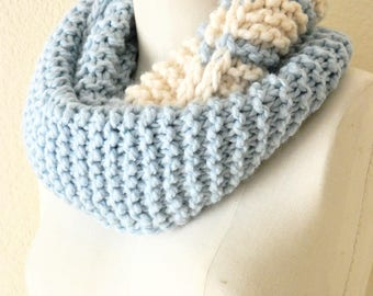 Baby Light Blue and White Chunky Fibonacci Infinity scarf, wool and acrylic blend