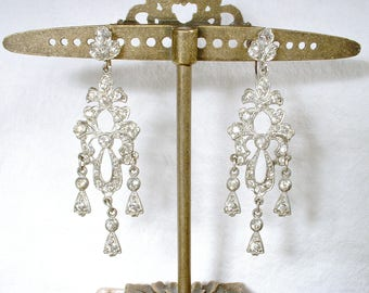 Antique Art Deco Chandelier Earrings, 1920 Pave Rhinestone Dangle Bridal Statement Earrings, Gatsby Flapper Vintage Wedding Paste Screw Back