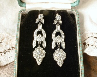 Antique French Paste Art Deco Earrings, 1920 1930 Pave Rhinestone Drop/Dangle Bridal Earrings Flapper Jewelry Vintage Wedding Screw Back On
