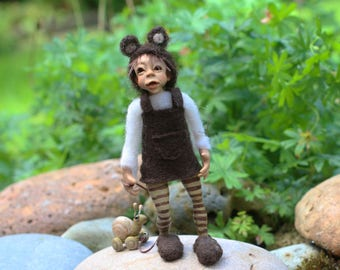 OOAK faerie  pixie poseable  polymer clay art doll with snail