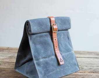 Lunch Tote w/ Buckle in Slate Waxed Canvas & Bourbon Leather