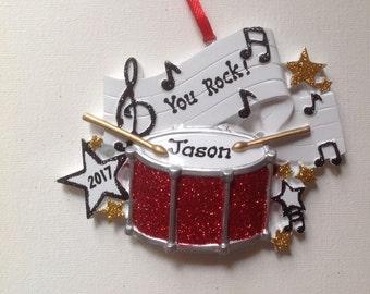 Personalized Christmas Ornament Rock Band,Drummer Musicians, Artist Rockstar,Drum Set- Free personalization
